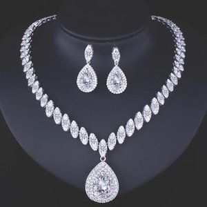 Silver Plated AAA CZ Necklace & Earrings Set